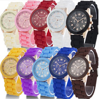 Wholesale GENEVA Fashion Jelly Silicone Watch For Men Women Quartz Watches Colors Dropship