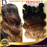 Wholesale Brazilian Hair Bundles Body Wave Remy Human Hair Extentions Cheap Ombre Hair Weave b Three Tone By DHL