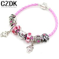 Cheap European Charm Leather Bracelet With 925 Silver Daughter Bead With Flower Bead Kt Pandent DIY Women Bracelet Gift Jewelry SL7