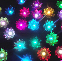 Wholesale New Arrival Colorful Changing LED Lotus Lamp Floating Water Wishing Lantern Artificial Silk Flower Candle Lights