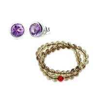 Cheap Wholesale-Free Shipping Double Layers Yellow Citrine Bracelet 925 Sterling Silver Natural Amethyst Stud Earrings Fine Jewelry Set