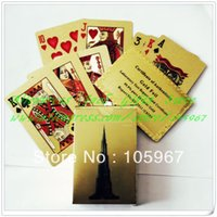 Wholesale Piece Deck No Pollutions Material Gold Foil Plated PET Hotel Design Gold Playing Card Specail Gifts With Certificate Card