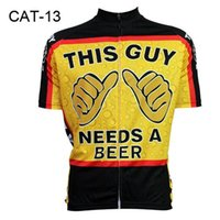 Wholesale Hot This Guys Needs A Beer Carton Cycling Tops Comfortable Bike Wear Cycling Clothing Short Sleeve Summer Cycling Jerseys CAT