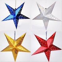 Wholesale Christmas Decorations Pentagram Lampshade Star Paper Lantern Hanging Wedding Xmas Decor cm cm