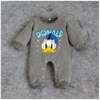 Cheap Baby's Rompers Infant Romper 2016 Winter Donald Duck cartoons thicken children's One Piece jumpsuit Kids outwear Baby clothes 4pcs lot 1-3T