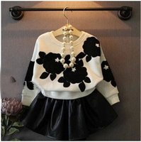 Wholesale Childrens New Style Fashion Pieces Set Flower Long Sleeve T shirt And PU Leather Skirt Girls Autumn Set