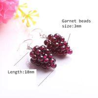 Wholesale Earrings Dangle Earrings Natural crystal garnet grape earrings female silver ear hook fashion jewelry drop earring