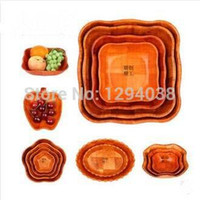 bamboo fruit bowl - Natural Pine Wood Hot Sale Set Fresh Fruit Platter Dish Bowl Suit Set Sizes For Home Hotel Picnic Using