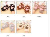 Wholesale Fluffy Bear Cat Plush Paw Claw Glove Novelty Halloween soft toweling lady s half covered gloves mittens