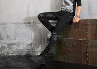 Wholesale 2015 New Male Elastic Straight Trousers Promotion Cotton Casual Denim Jeans Men Pants Uglybros PU Leather Motorcycle Jeans