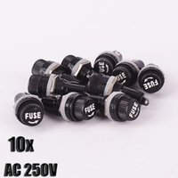 ac auto glass - 10pcs AC V A Electrical Panel Mounted Glass Fuse Holder For Car Radio Auto Stereo x20mm