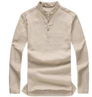 Wholesale new Asian fashion mens pullover shirt longsleeve linen shirts collarless shirt men camisas manga comprida plus size