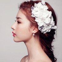 Wholesale Wedding headdress handmade lace bridal hair flower imitation pearl ornament