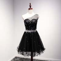 semi formal dress - Beaded Black Short Semi Formal Dance Dress For Teens One Shoulder Sheer Tulle Back Rhinestones Homecoming Graduation Dress