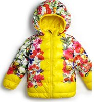 Wholesale girl children with a hood hemming cotton padded jacket flower solid color space cotton down winter outwear