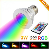 Wholesale 3W LED RGB Bulb Color Changing W LED Spotlights RGB led Light Bulb Lamp E27 GU10 E14 MR16 with Key Remote Control V V