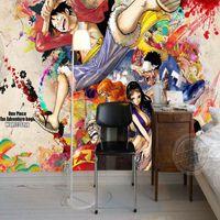 Wood Fiber Wallpaper bedrooms interior design - One Piece Luffy Photo Wallpaper Custom D Wall Murals Japanese anime wallpaper Childrens room Bedroom Living room Interior Design Room decor