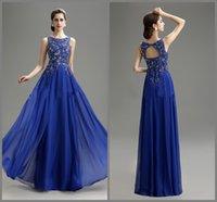 Wholesale 2015 New Arrival Prom Evening Dresses Royal Blue Vintage Charming Scoop Applique Beaded Floor Length A line Chiffon Bridesmaid Dresses