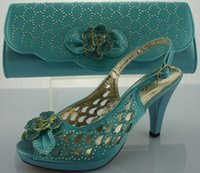 Wholesale italy shoes shoes with matching bags high quality Grade A SB335 SIZE38 aqua