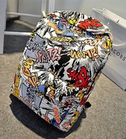 Wholesale Graffiti Prints Bags Backpack Women Men Shoulder Bag Children Kids School Bag Campus Travel Rucksack Cartoon Emoji Pattern Zipper Packsack
