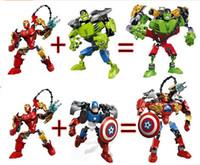 assembly robot - super heroes building blocks assembly robot building block the Avengers Superhero Captain America Hulk educational diy bricks toys