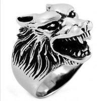Wholesale 2015 Vintage Biker Wolf Head Stainless Steel Men s Ring