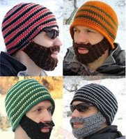 Wholesale Hats Beanie Skull Caps Bearded Wool Knitted Hats Beard Knitted Hat Warmer Ski Bike Skull Hat Unisex Men Beard Cap Christmas hat Best gifts