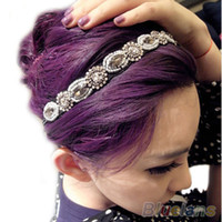 Wholesale Fashion Retro Style Women HairBand Crystal Rhinestone Gray Beads Headband Hair Band AM
