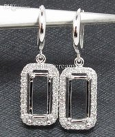 emerald cut diamonds - Caimao Jewelry Unique x9mm Emerald Cut k White Gold ct Diamond Semi Mount Earring Setting