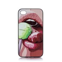 beauty eating - Beauty Girl Eat Lollipop Design Hard Plastic Mobile Phone Case Cover For iPhone S S C