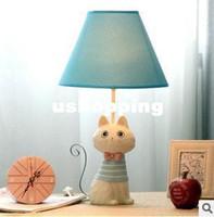 Wholesale Blue table lamp bedroom Iron Tail Cat Creative children s animal table lamp yeelight bedside lamp light Korean resin table lamp