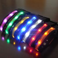 Wholesale 30pcs New Nylon LED Cat Dog Pet Collars Pet Shop Flashing Light Up Safety Collar Size S M L XL