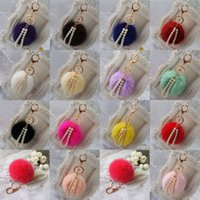 Wholesale Fashion Genuine Rabbit Fur Ball PomPom Pearl Pendant Car Keychain Handbag Key Ring