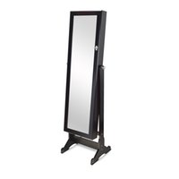 wood mirror - Dark Brown Full Length Dressing Mirror Jewelry Cabinet Armoire W Stand Rings Bracelets Storage USA Stock