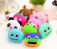 Wholesale 100PCS LJJJ05 Cute Creative Cartoon Silicone Coin Purse Women Kids Girls Animal Zipper Wallet Portable Bags
