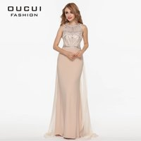 Wholesale Real Photo Long Evening Dress Nude Color Tulle Jersey Chiffon Beading Handwork Party Gown OL102345