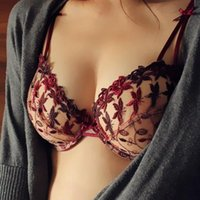 Wholesale Hot Bras Sets2015 new sexy lace embroidery transparent gauze bra set and B C D cup size shorts plus size lingerie wine red Sapphire blue
