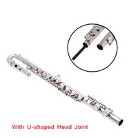 Wholesale High Quality Silver Plated Closed Holes C Key Flute Straight U shaped Head Joint with Case Cloth Screwdriver