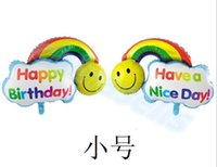 Wholesale 46 CM kid cartoon smile rainbow cloud aluminum balloons child birthday party decoration foil balloon hot