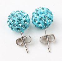 crystal ball earrings - 10Colors New MM Pave Disco Ball Round Beads Czech Crystal Studs Earrings Hip Hop