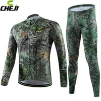 bicycle forest - 2016 CHEJI Mens Winter Team Cycling Jerseys Sets Forest Camouflage Long Sleeve Breathable Thermal Bilke Bicycle Cothing Outdoor Sportwear