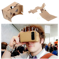 Wholesale 2015 Google Cardboard VR Virtual Reality D Glasses Storm Mirror DIY Kit and Head Mount strap For iphone plus s samsung s6 edge