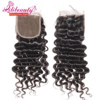 "Cheap 7A Malaysian deepwave virgin hair lace top closures 4x4""swiss lace closure bleached knots hair Can be dye 8''-20'' closure in stock"