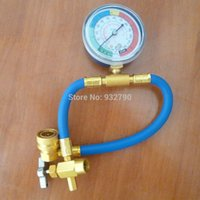 Wholesale NEW R A A RECHARGE MEASURING KIT AIR CONDITIONER A C CONDITIONING GAUGE SYSTEM HOSE THREAD OPENER GAS RELEASE VALVE order lt no