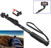 Wholesale C Extendable Self Portrait Selfie Stick Handheld Monopod for Cameras With phone holder for Cell Phones Black Fedex