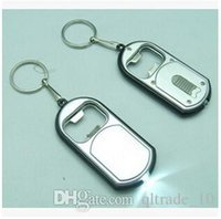 Wholesale 500pcs CCA1918 Hot New Arrival Creative Vintage in LED Flashlight Torch Keychain With Beer Bottle Opener Key Ring Chain Keyring