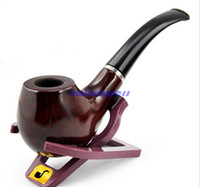 wooden smoking pipe - Smoking Accessories Smoking Pipes Durable Wooden Pipe Smoking Tobacco Cigar Pipes Cool Gift Stand Holder Present