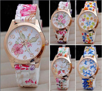 Wholesale Womens Watches High grade Watches Womens Watches Hot Womens High grade Flower Printing Watches Fashion Ladies Silicone Watch