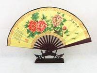 decorative fans - Pretty Silk Folding Decorative Fan Wedding Party Favor Gifts Peony Flower pattern