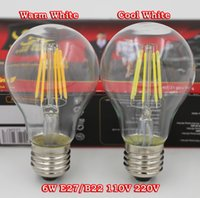 bulb e27 - Edison type A19 LED Dimmable Filament Led Bulb Light W W W E27 E26 B22 Base V AC